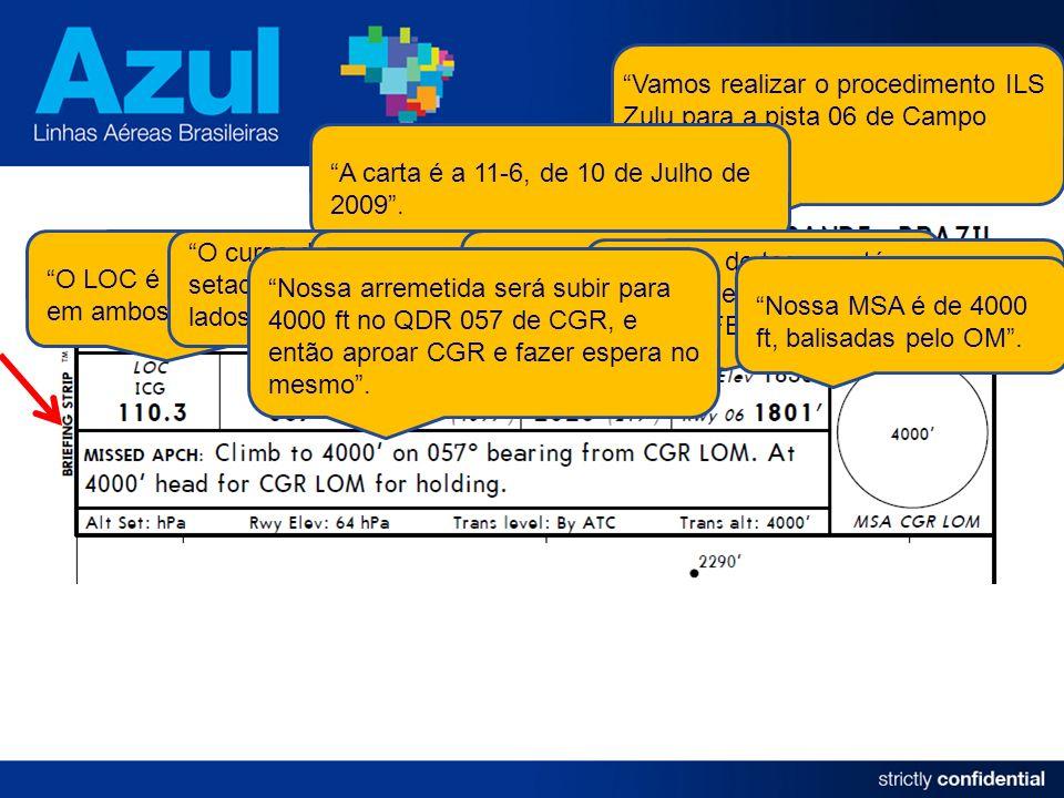 Vamos realizar o procedimento ILS Zulu para a pista 06 de Campo Grande. A carta é a 11-6, de 10 de Julho de 2009. O LOC é o ICG, 110.30, já setados em