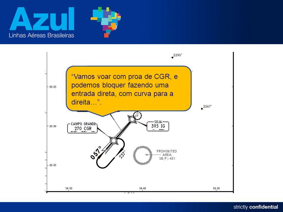 Vamos voar com proa de CGR, e podemos bloquer fazendo uma entrada direta, com curva para a direita….