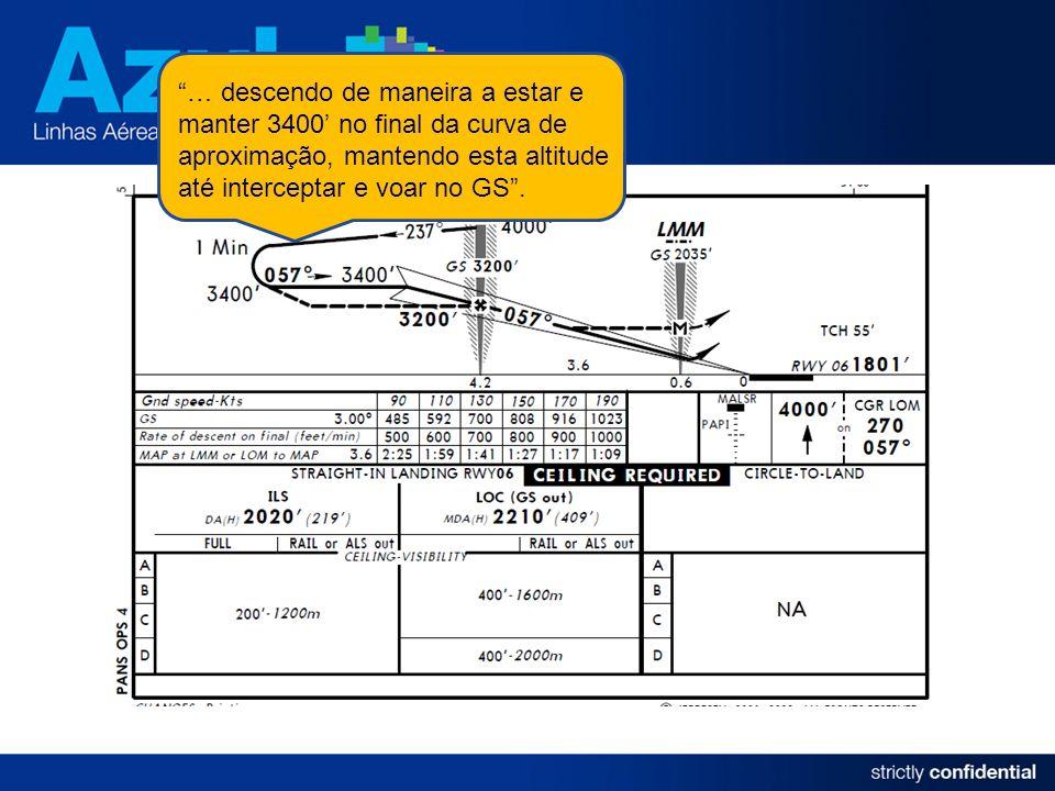 … descendo de maneira a estar e manter 3400 no final da curva de aproximação, mantendo esta altitude até interceptar e voar no GS.