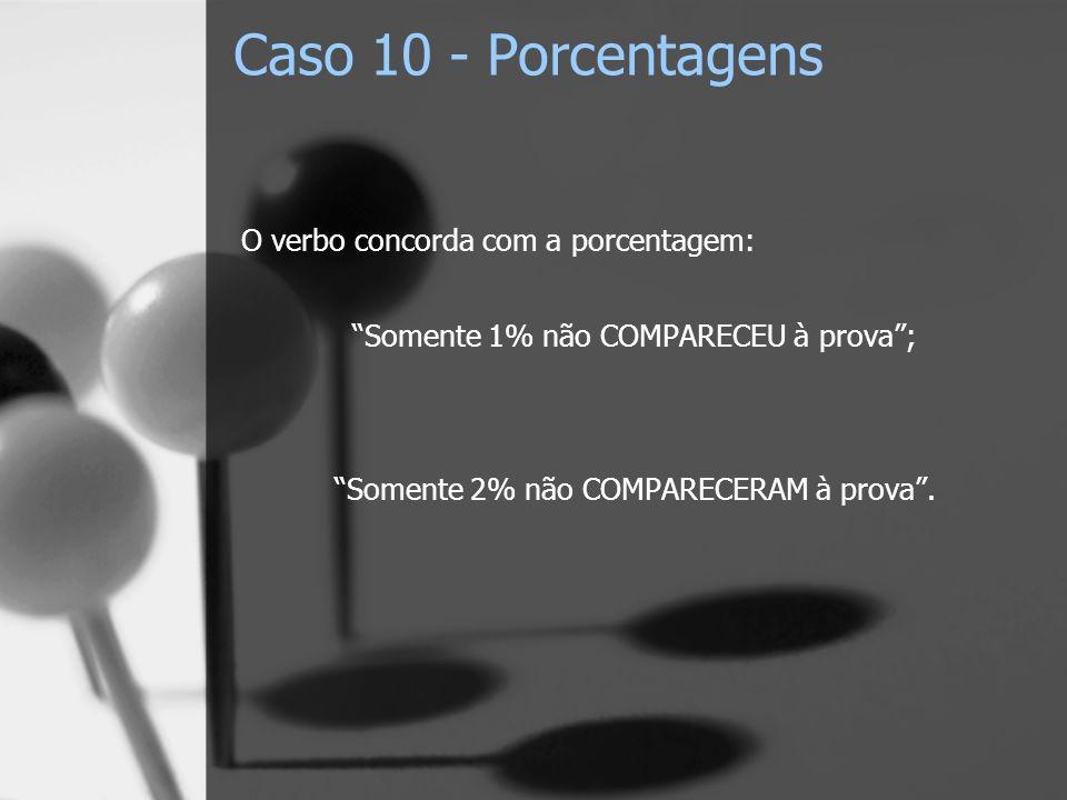 Caso 10 - Porcentagens O verbo concorda com a porcentagem: Somente 1% não COMPARECEU à prova; Somente 2% não COMPARECERAM à prova.