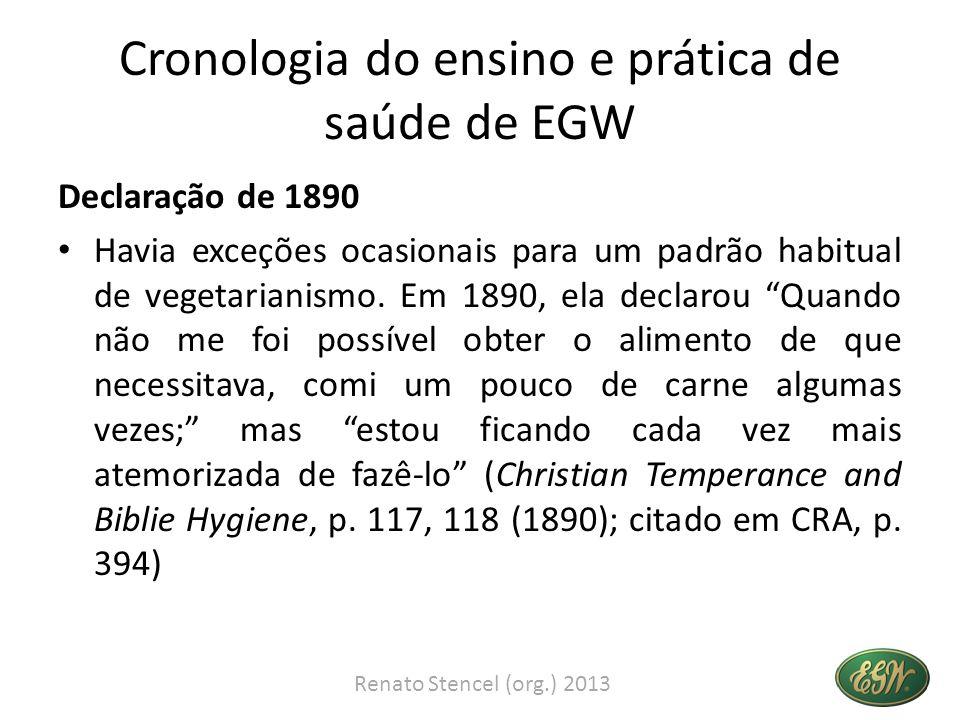 Cronologia do ensino e prática de saúde de EGW Declaração de 1890 Havia exceções ocasionais para um padrão habitual de vegetarianismo. Em 1890, ela de