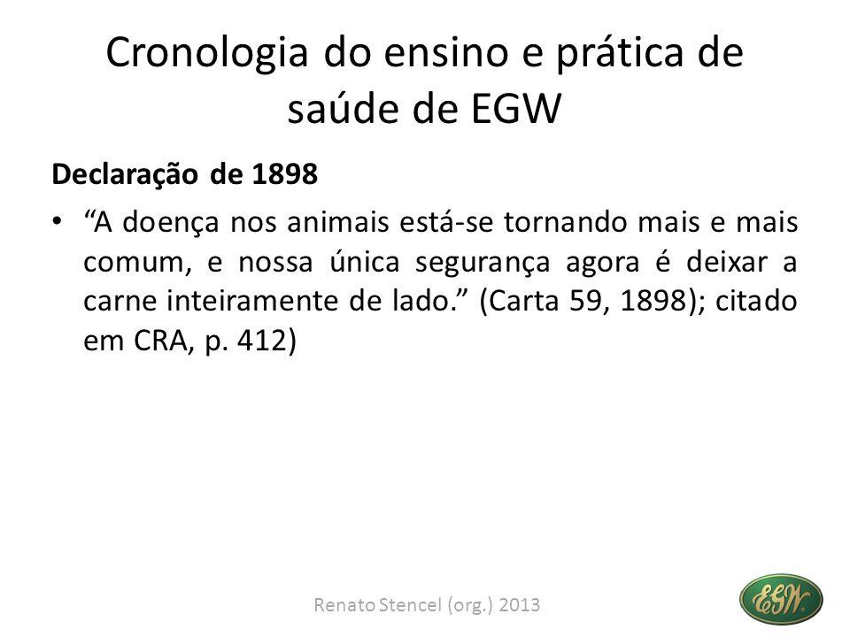 Cronologia do ensino e prática de saúde de EGW Declaração de 1898 A doença nos animais está-se tornando mais e mais comum, e nossa única segurança ago