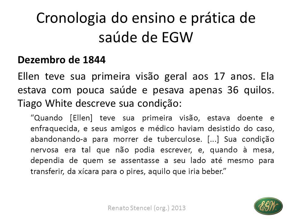 Cronologia do ensino e prática de saúde de EGW Dezembro de 1844 Ellen teve sua primeira visão geral aos 17 anos. Ela estava com pouca saúde e pesava a