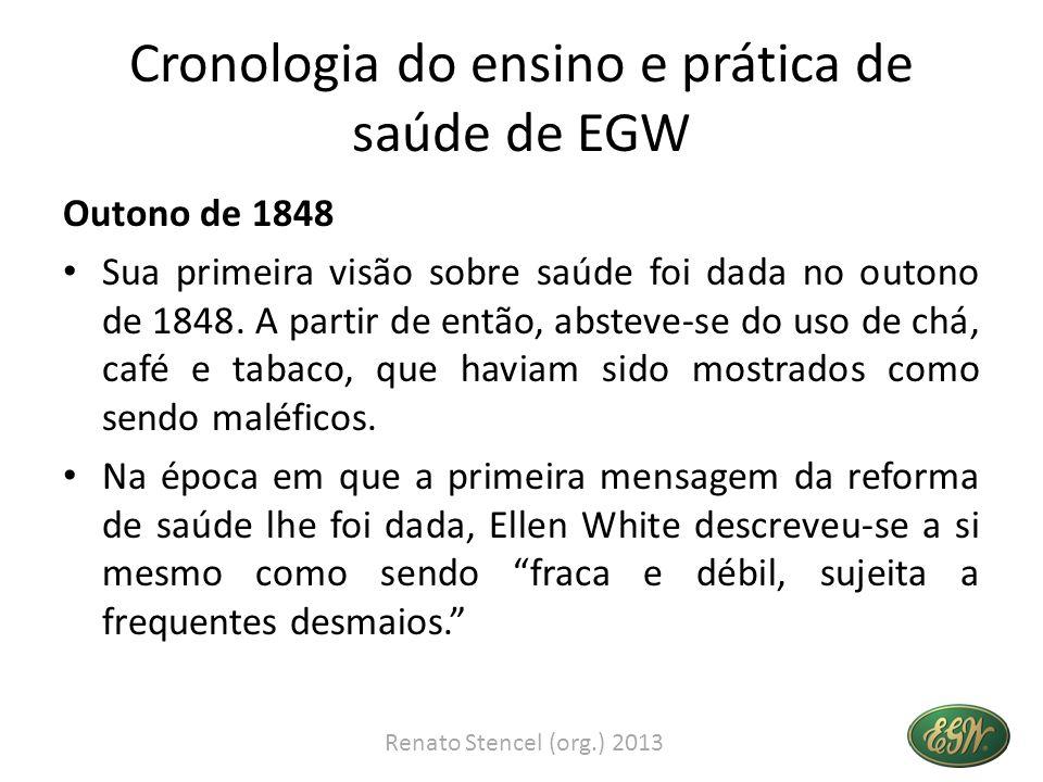 Cronologia do ensino e prática de saúde de EGW Outono de 1848 Sua primeira visão sobre saúde foi dada no outono de 1848. A partir de então, absteve-se