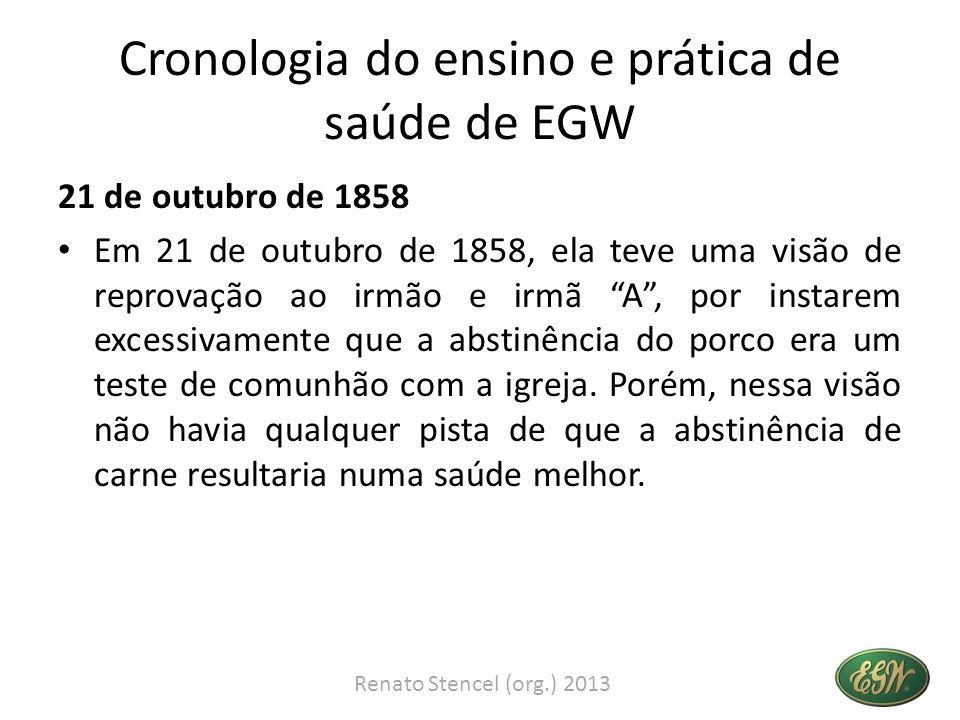 Cronologia do ensino e prática de saúde de EGW 21 de outubro de 1858 Em 21 de outubro de 1858, ela teve uma visão de reprovação ao irmão e irmã A, por
