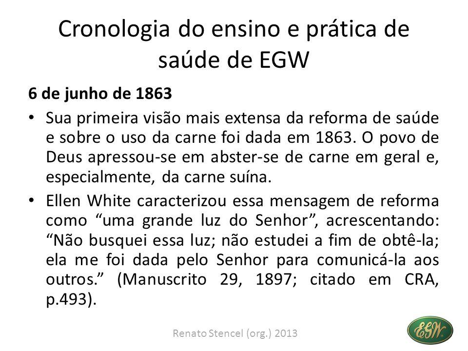 Cronologia do ensino e prática de saúde de EGW 6 de junho de 1863 Sua primeira visão mais extensa da reforma de saúde e sobre o uso da carne foi dada