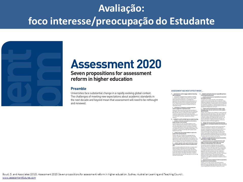 Avaliação: foco interesse/preocupação do Estudante Boud, D. and Associates (2010). Assessment 2020: Seven propositions for assessment reform in higher
