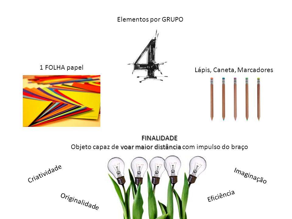 Elementos por GRUPO 1 FOLHA papel Lápis, Caneta, Marcadores FINALIDADE voar maior distância Objeto capaz de voar maior distância com impulso do braço
