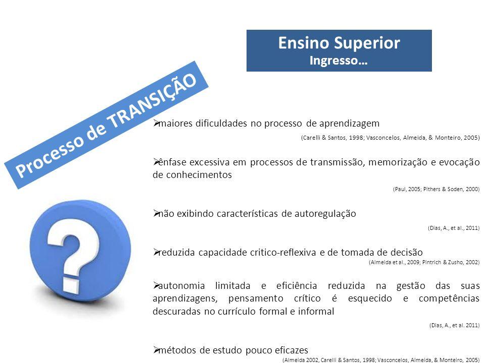 Ensino Superior Ingresso… maiores dificuldades no processo de aprendizagem (Carelli & Santos, 1998; Vasconcelos, Almeida, & Monteiro, 2005) ênfase exc