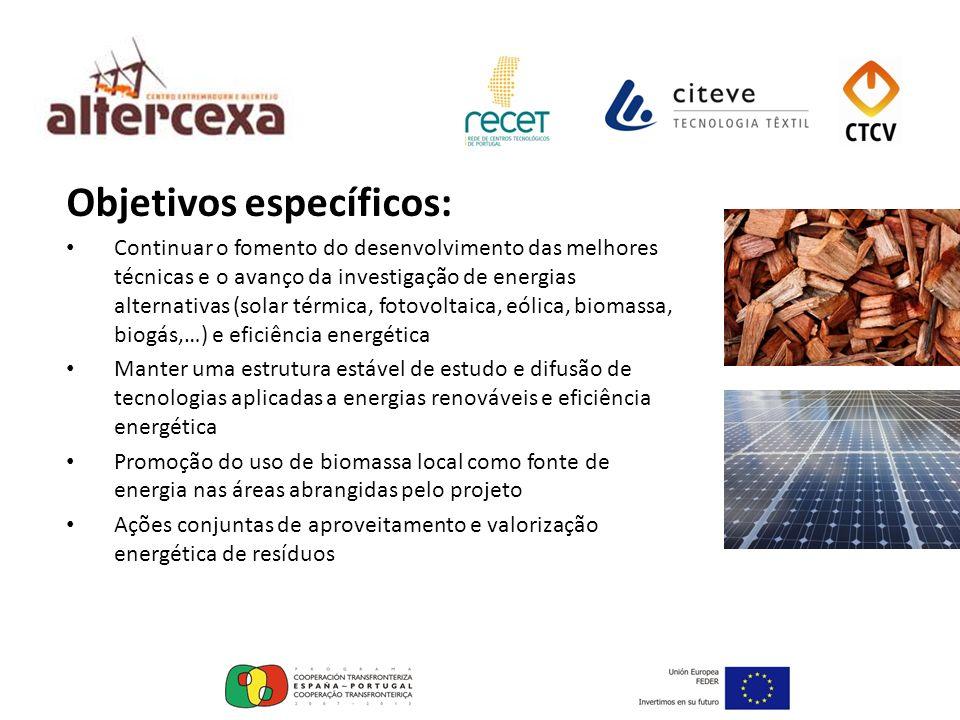 Objetivos específicos: Fomentar o intercâmbio de metodologias e técnicas de análise de eficiência energética Investigação conjunta para o aproveitamento energético de biomassa