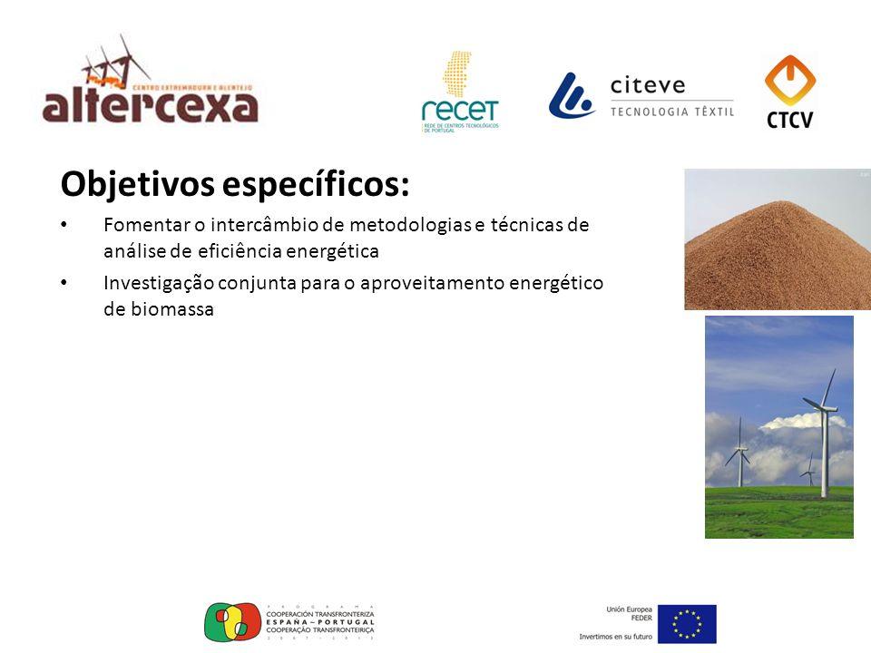 Parceiros ALTERCEXA: Junta de Extremadura - Consejería de Industria, Energía y Medio Ambiente RECET - Associação dos Centros Tecnológico de Portugal CTCV - Centro Tecnológico da Cerâmica e do Vidro CITEVE - Centro Tecnológico da Industria Têxtil e do Vestuário de Portugal Instituto Politécnico de Portalegre Instituto Politécnico de Beja AREANATejo - Agencia Regional de Energia e Ambiente do Norte Alentejano e Tejo GESAMB - Gestão Ambiental e de Resíduos, EIM Universidade de Évora Associação de Defensa do Património de Mértola AGENEX - Agencia Extremeña de la Energía Centro de Investigación Agraria La Orden Valdesequera.