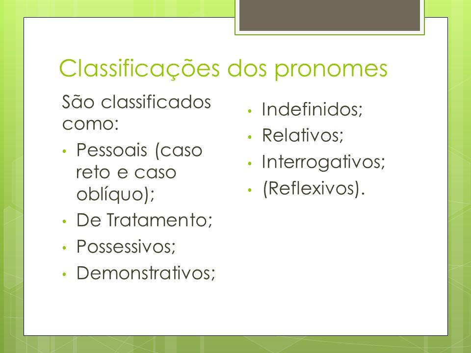 Classificações dos pronomes São classificados como: Pessoais (caso reto e caso oblíquo); De Tratamento; Possessivos; Demonstrativos; Indefinidos; Rela