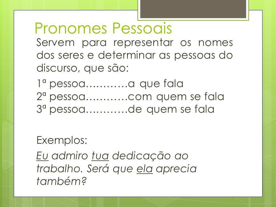 Pronomes Pessoais Servem para representar os nomes dos seres e determinar as pessoas do discurso, que são: 1ª pessoa…………a que fala 2ª pessoa…………com qu