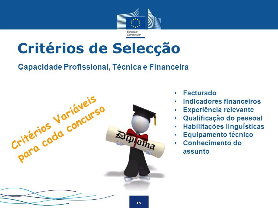 15 Capacidade Profissional, Técnica e Financeira Facturado Indicadores financeiros Experiência relevante Qualificação do pessoal Habilitações linguíst