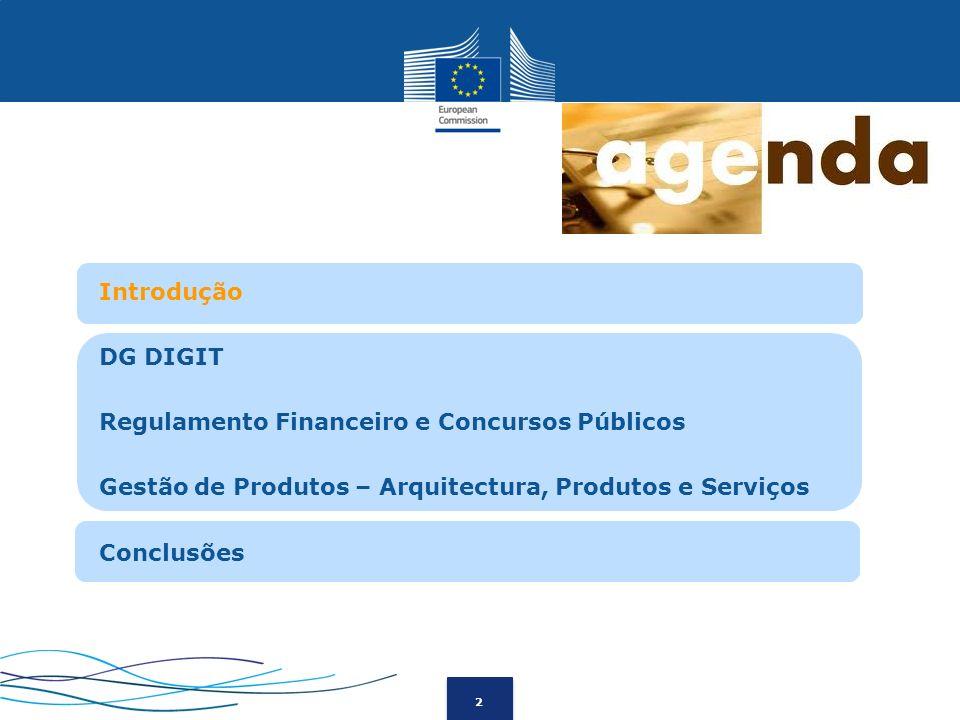 2 Introdução DG DIGIT Regulamento Financeiro e Concursos Públicos Gestão de Produtos – Arquitectura, Produtos e Serviços Conclusões