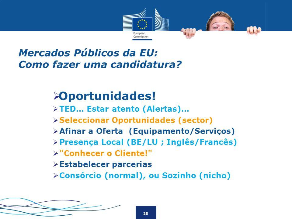 28 Mercados Públicos da EU: Como fazer uma candidatura? Oportunidades! TED… Estar atento (Alertas)… Seleccionar Oportunidades (sector) Afinar a Oferta