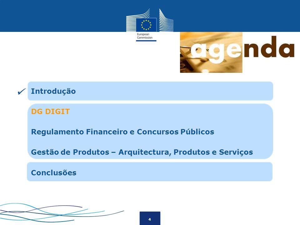 4 Introdução DG DIGIT Regulamento Financeiro e Concursos Públicos Gestão de Produtos – Arquitectura, Produtos e Serviços Conclusões
