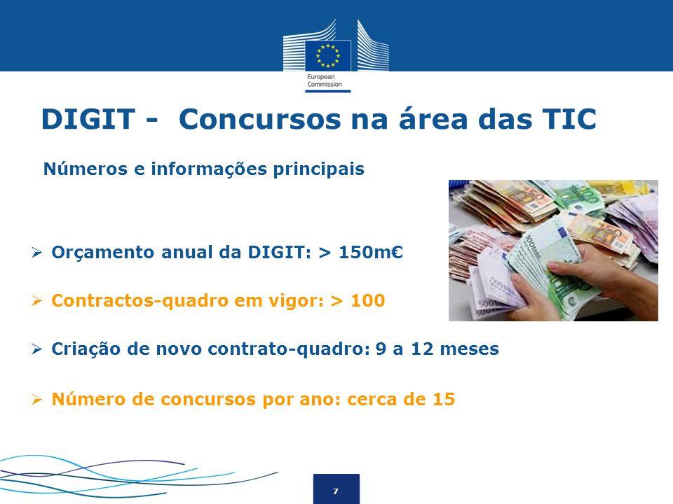 7 DIGIT - Concursos na área das TIC Orçamento anual da DIGIT: > 150m Contractos-quadro em vigor: > 100 Criação de novo contrato-quadro: 9 a 12 meses N