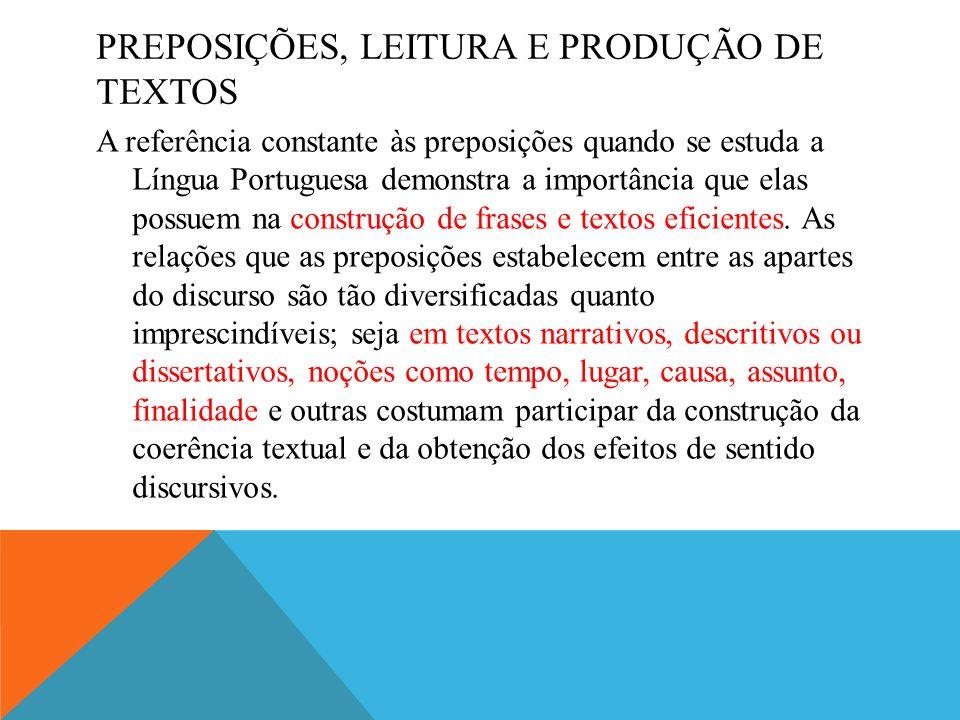 PREPOSIÇÕES, LEITURA E PRODUÇÃO DE TEXTOS A referência constante às preposições quando se estuda a Língua Portuguesa demonstra a importância que elas possuem na construção de frases e textos eficientes.