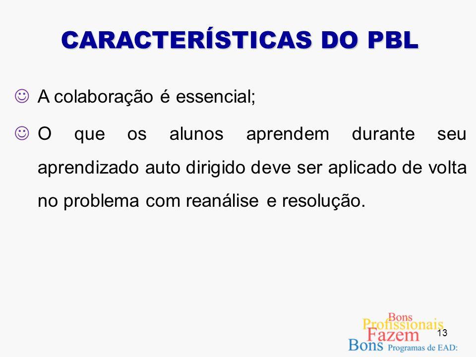 A responsabilidade pelo próprio aprendizado deve ser do estudante; Os problemas simulados em PBL devem ser bem estruturados e permitir o livre questio