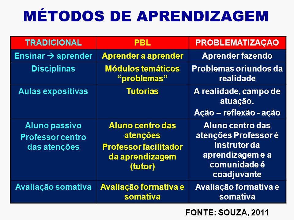 Características do PBL Estrutura curricular temática Integração de conhecimento e competências; Integração de diferententes domínios; Focaliza no proc