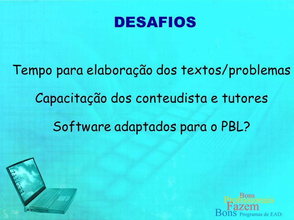 PBL implica: Quebra de paradigma do Ensino para a Aprendizagem Um desconforto inicial (tanto para a equipe quanto para os estudantes); DESAFIOS