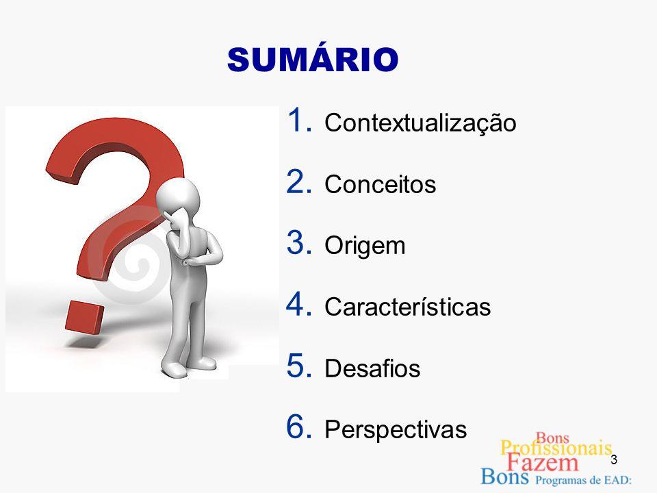 3 SUMÁRIO 1. Contextualização 2. Conceitos 3. Origem 4. Características 5. Desafios 6. Perspectivas