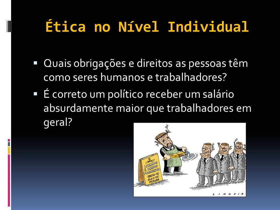 Nível Social da Ética No âmbito da sociedade, de modo geral, as questões éticas relacionam-se com a própria presença, o papel e o efeito das organizaç