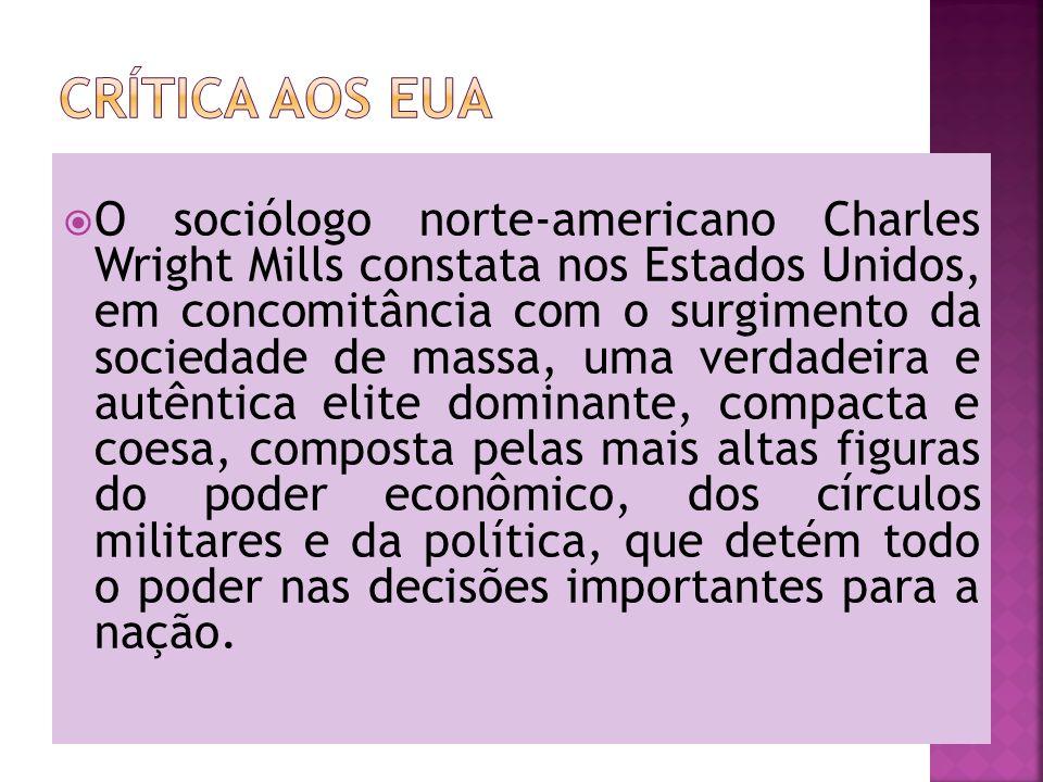 O sociólogo norte-americano Charles Wright Mills constata nos Estados Unidos, em concomitância com o surgimento da sociedade de massa, uma verdadeira
