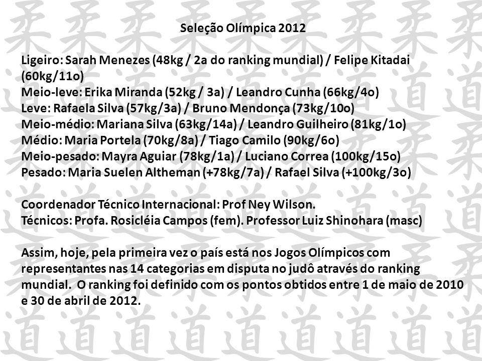 Seleção Olímpica 2012 Ligeiro: Sarah Menezes (48kg / 2a do ranking mundial) / Felipe Kitadai (60kg/11o) Meio-leve: Erika Miranda (52kg / 3a) / Leandro