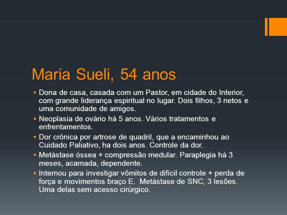 Maria Sueli, 54 anos Dona de casa, casada com um Pastor, em cidade do Interior, com grande liderança espiritual no lugar.