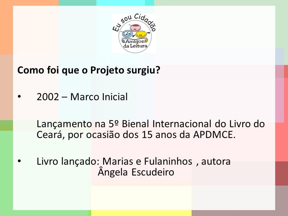 Como foi que o Projeto surgiu? 2002 – Marco Inicial Lançamento na 5º Bienal Internacional do Livro do Ceará, por ocasião dos 15 anos da APDMCE. Livro