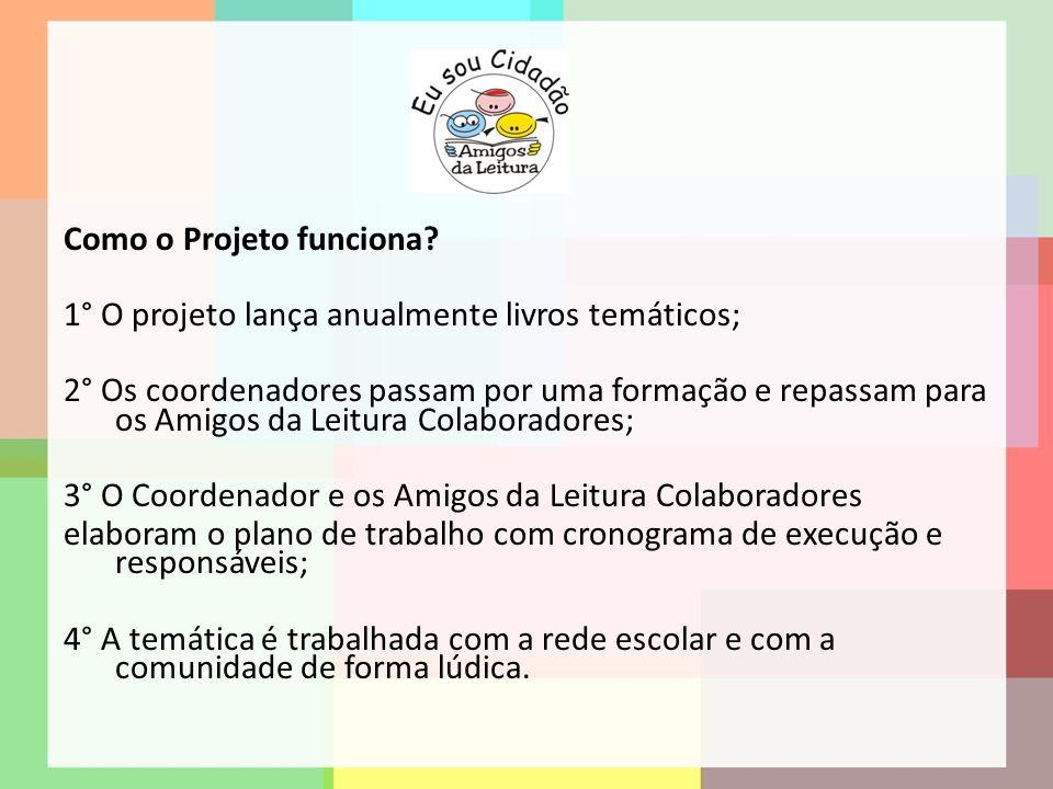 Como o Projeto funciona? 1° O projeto lança anualmente livros temáticos; 2° Os coordenadores passam por uma formação e repassam para os Amigos da Leit
