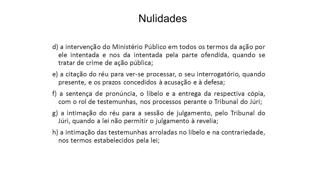 Nulidades d) a intervenção do Ministério Público em todos os termos da ação por ele intentada e nos da intentada pela parte ofendida, quando se tratar