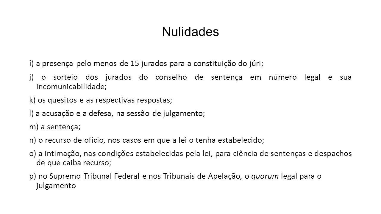 Nulidades i ) a presença pelo menos de 15 jurados para a constituição do júri; j) o sorteio dos jurados do conselho de sentença em número legal e sua