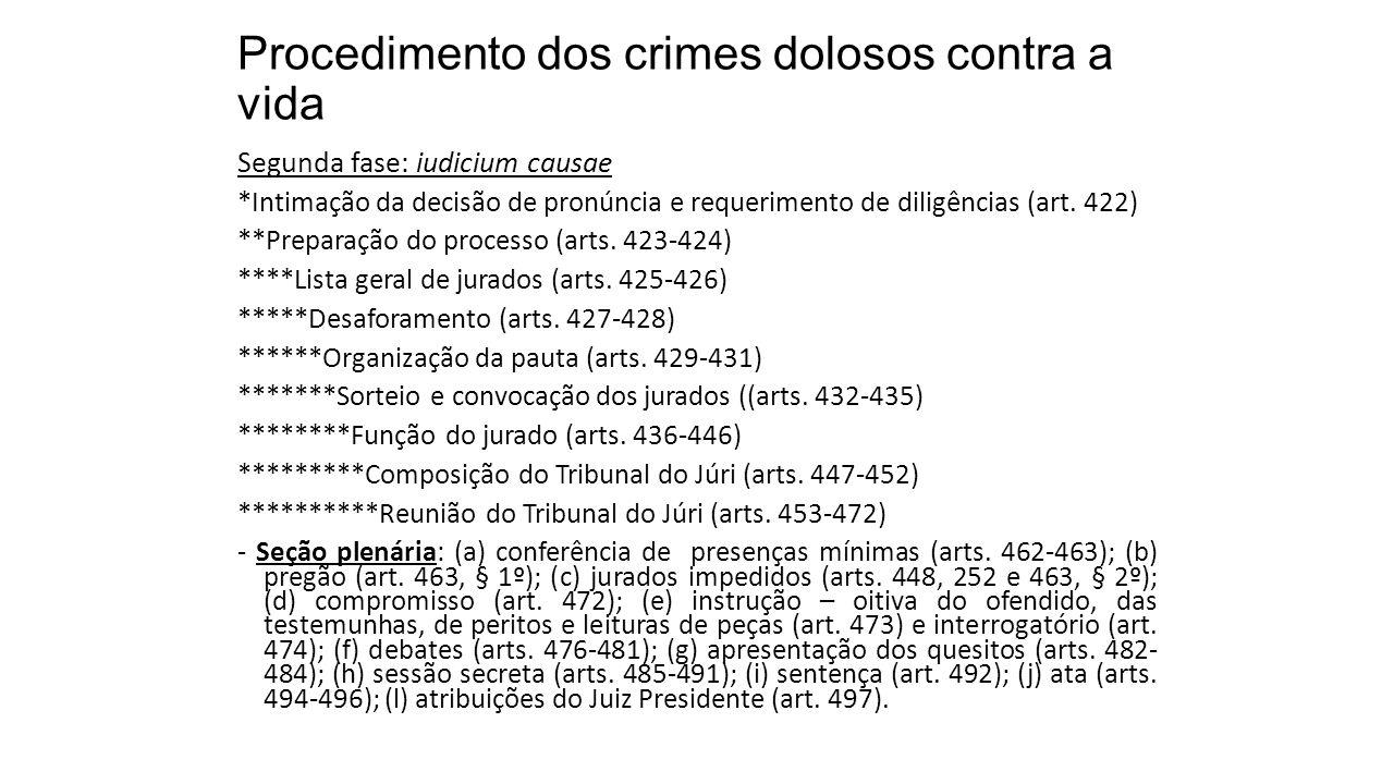 Procedimento dos crimes dolosos contra a vida Segunda fase: iudicium causae *Intimação da decisão de pronúncia e requerimento de diligências (art. 422