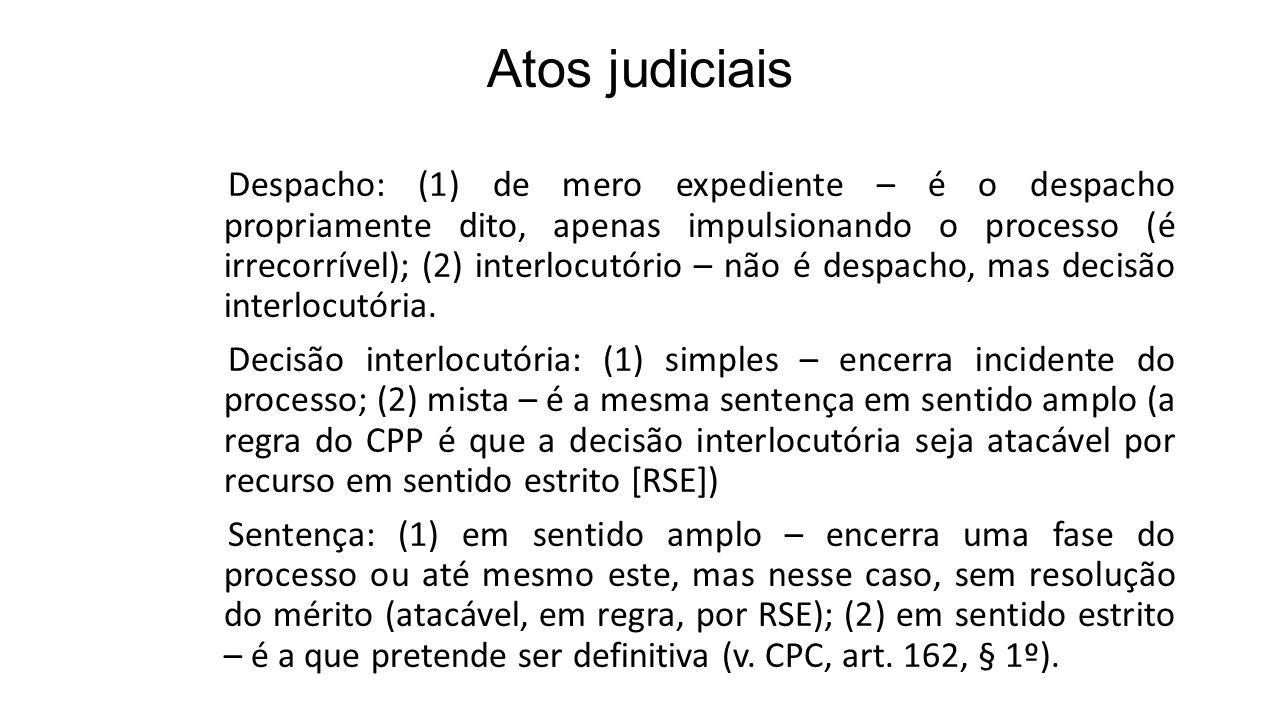 Atos judiciais Despacho: (1) de mero expediente – é o despacho propriamente dito, apenas impulsionando o processo (é irrecorrível); (2) interlocutório – não é despacho, mas decisão interlocutória.