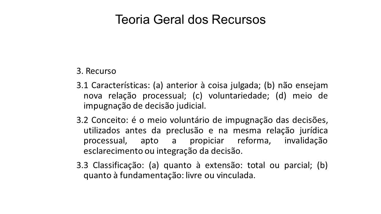 Teoria Geral dos Recursos 3. Recurso 3.1 Características: (a) anterior à coisa julgada; (b) não ensejam nova relação processual; (c) voluntariedade; (