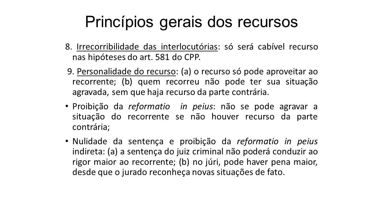 Princípios gerais dos recursos 8. Irrecorribilidade das interlocutórias: só será cabível recurso nas hipóteses do art. 581 do CPP. 9. Personalidade do