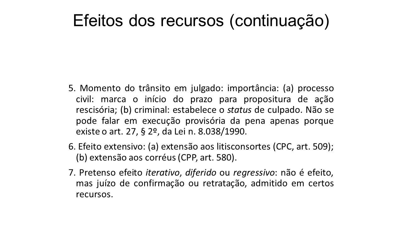 Efeitos dos recursos (continuação) 5. Momento do trânsito em julgado: importância: (a) processo civil: marca o início do prazo para propositura de açã