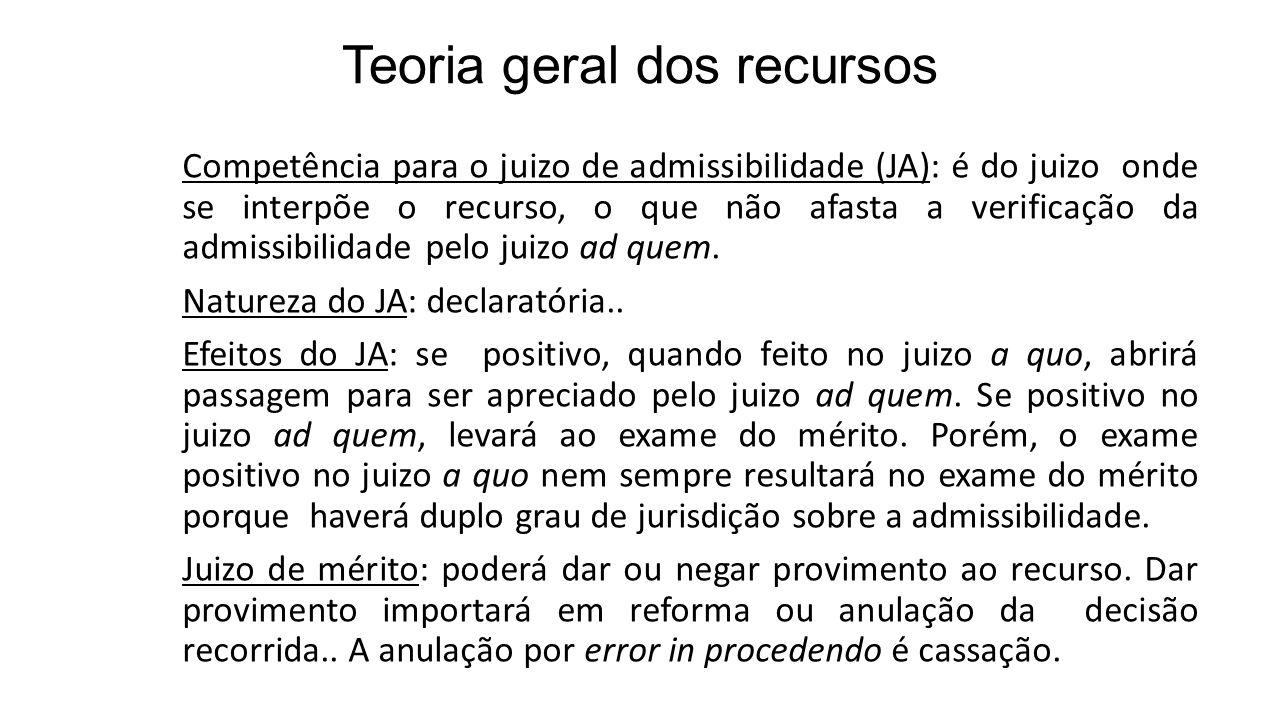 Teoria geral dos recursos Competência para o juizo de admissibilidade (JA): é do juizo onde se interpõe o recurso, o que não afasta a verificação da a
