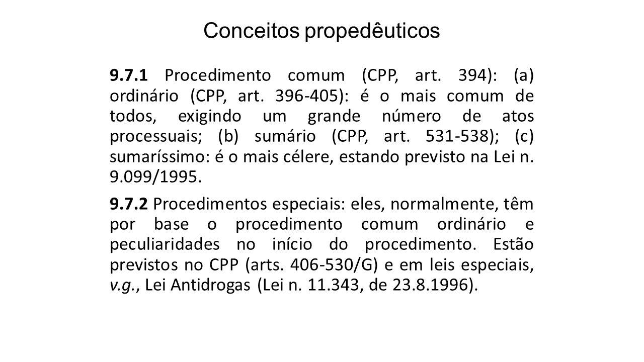 Conceitos propedêuticos 9.7.1 Procedimento comum (CPP, art. 394): (a) ordinário (CPP, art. 396-405): é o mais comum de todos, exigindo um grande númer