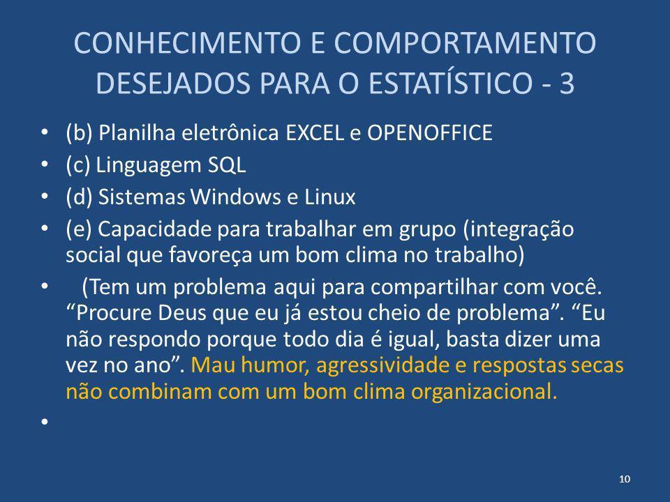 CONHECIMENTO E COMPORTAMENTO DESEJADOS PARA O ESTATÍSTICO - 3 (b) Planilha eletrônica EXCEL e OPENOFFICE (c) Linguagem SQL (d) Sistemas Windows e Linu