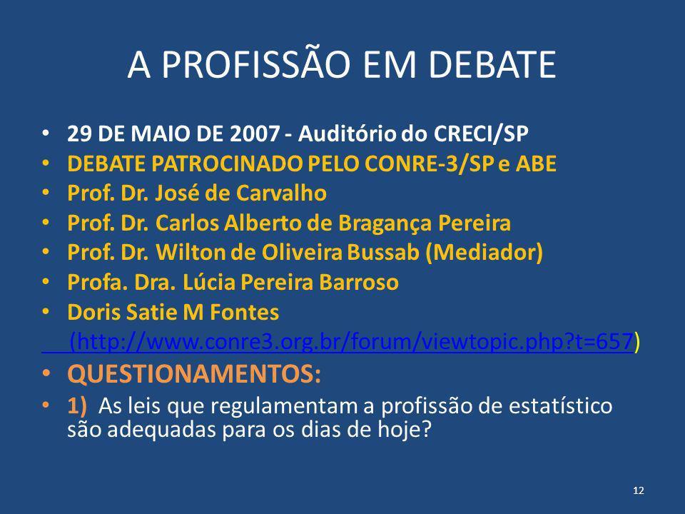 A PROFISSÃO EM DEBATE 29 DE MAIO DE 2007 - Auditório do CRECI/SP DEBATE PATROCINADO PELO CONRE-3/SP e ABE Prof. Dr. José de Carvalho Prof. Dr. Carlos