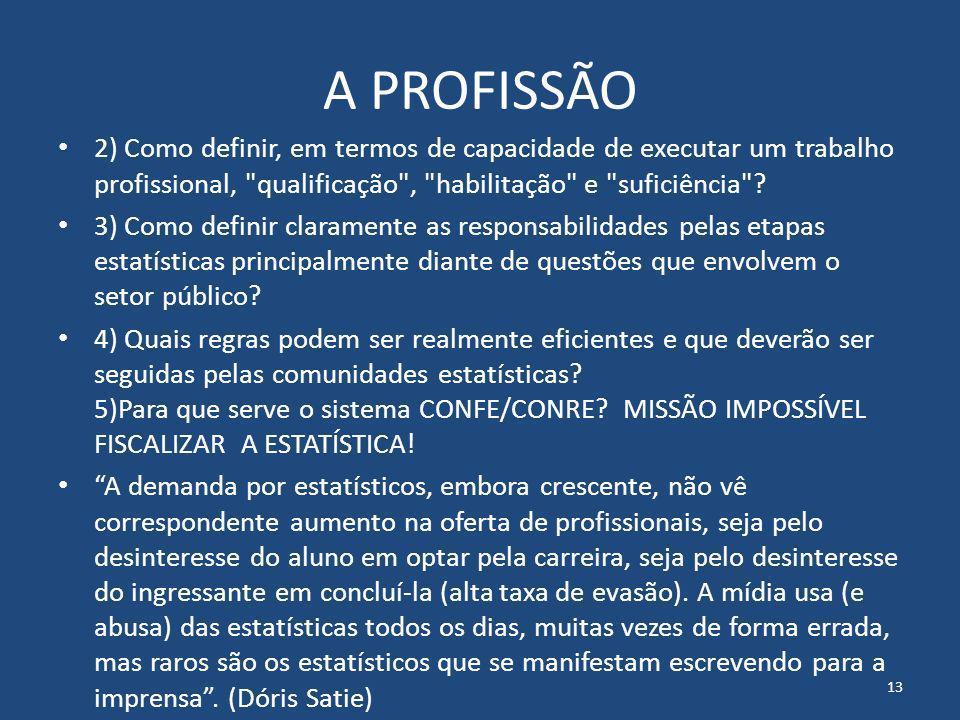 A PROFISSÃO 2) Como definir, em termos de capacidade de executar um trabalho profissional,