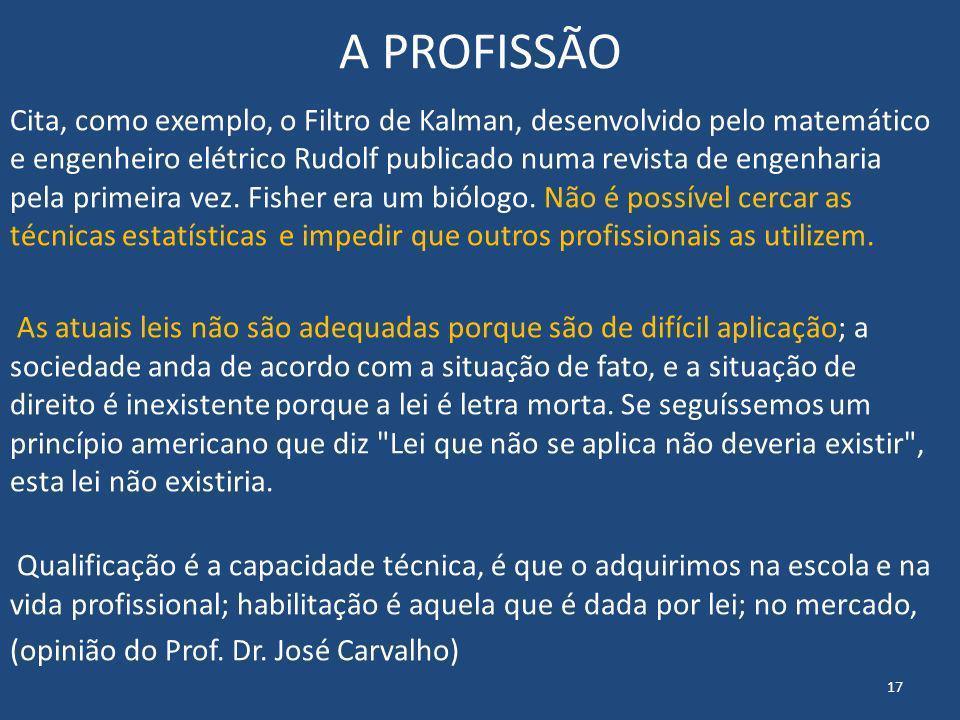 A PROFISSÃO Cita, como exemplo, o Filtro de Kalman, desenvolvido pelo matemático e engenheiro elétrico Rudolf publicado numa revista de engenharia pel