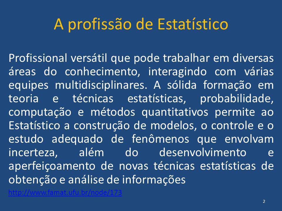 A profissão de Estatístico Profissional versátil que pode trabalhar em diversas áreas do conhecimento, interagindo com várias equipes multidisciplinar