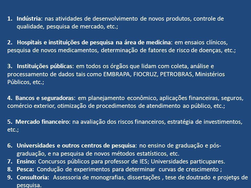 1.Indústria: nas atividades de desenvolvimento de novos produtos, controle de qualidade, pesquisa de mercado, etc.; 2. Hospitais e instituições de pes