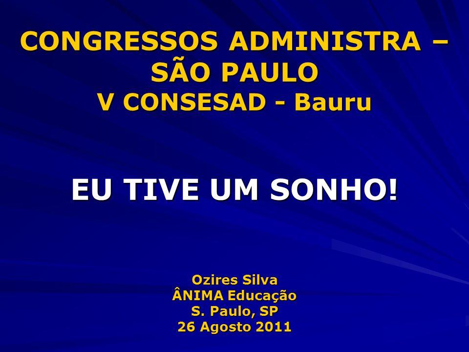 CONGRESSOS ADMINISTRA – SÃO PAULO V CONSESAD - Bauru EU TIVE UM SONHO! Ozires Silva ÂNIMA Educação S. Paulo, SP 26 Agosto 2011