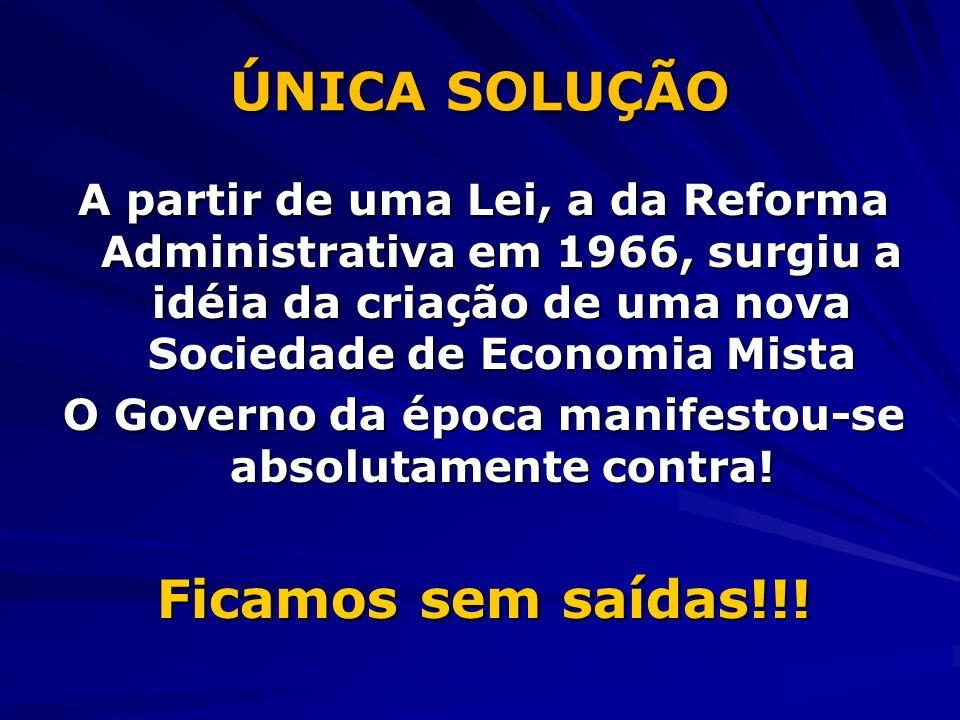 ÚNICA SOLUÇÃO A partir de uma Lei, a da Reforma Administrativa em 1966, surgiu a idéia da criação de uma nova Sociedade de Economia Mista O Governo da época manifestou-se absolutamente contra.